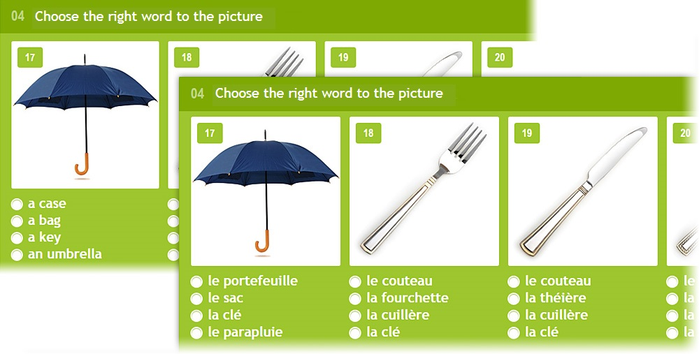 Lang-Land.com - Unit 4 – «Match the right word with the picture» in english and french