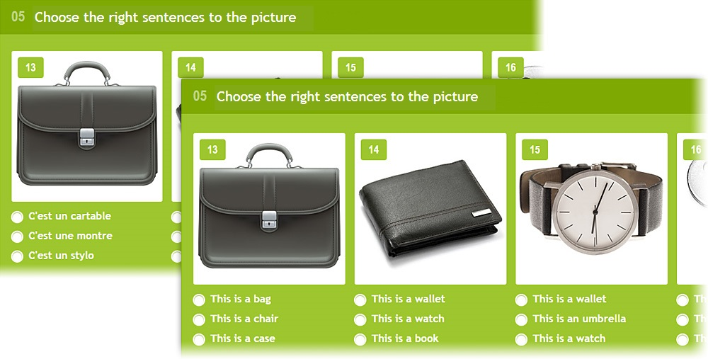 Lang-Land.com - Unit 5 – «Match the right sentences with the image» in french and english