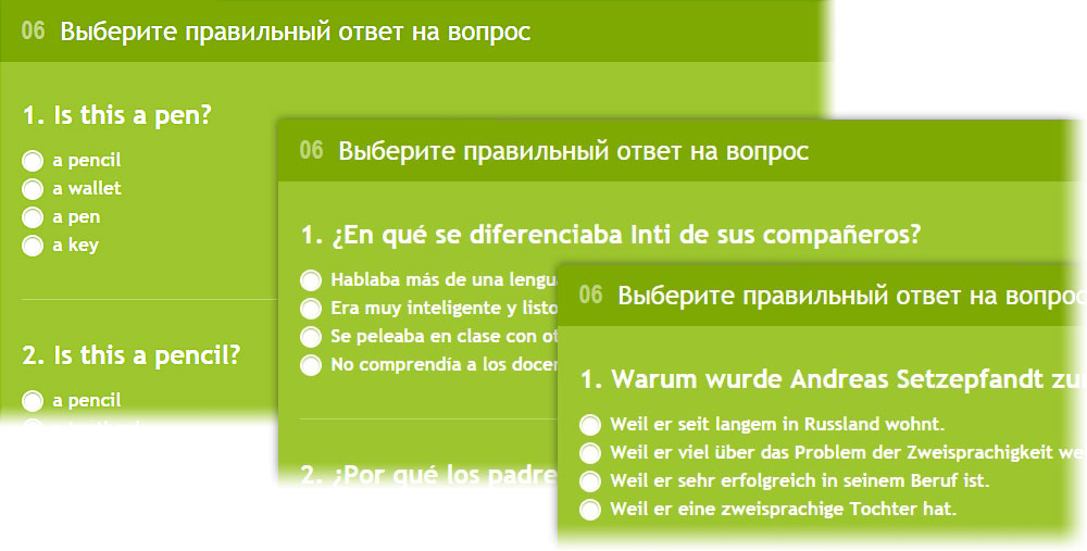 Lang-Land.com - Unit 6 – «Match the correct answer with the question» in english, spanish and german